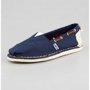 Toms Navy Blue Bimini Boat Slip On Shoes Womens